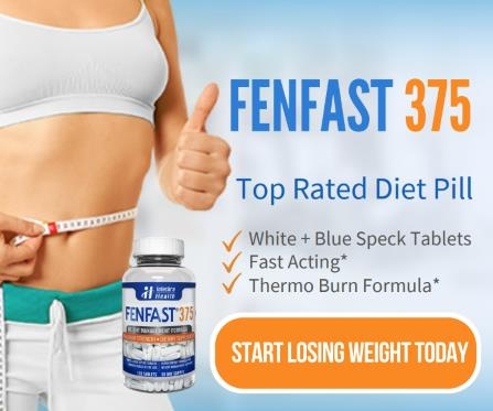 FENFAST 375 top rated diet pill: White and blue speck tablets, fast acting, thermo burn formula. Start losing weight today.